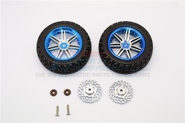 Traxxas LaTrax Teton & LaTrax SST Aluminum Front Brake Disk +2.5mm Thick With Wheels & Tires - 1Pr Set Gray Silver