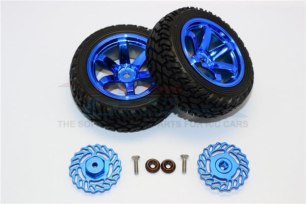 Traxxas LaTrax Teton & LaTrax SST Aluminum Brake Disk +2.5mm Thick With Tires And Wheels - 4Pcs Set Blue+Blue