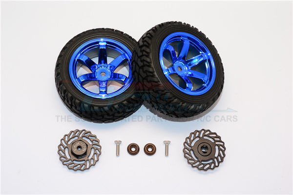 Traxxas LaTrax Teton & LaTrax SST Aluminum Brake Disk +2.5mm Thick With Tires And Wheels - 4Pcs Set Black+Blue