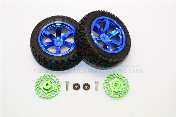 Traxxas LaTrax Teton & LaTrax SST Aluminum Brake Disk +2.5mm Thick With Tires And Wheels - 4Pcs Set Green+Blue
