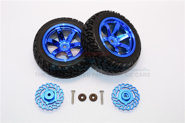 Traxxas LaTrax Teton & LaTrax SST Aluminum Brake Disk +5.5mm Thick With Tires And Wheels - 4Pcs Set Blue+Blue