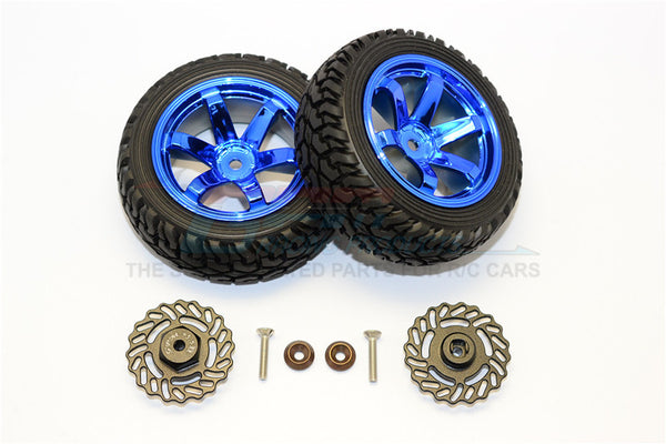 Traxxas LaTrax Teton & LaTrax SST Aluminum Brake Disk +5.5mm Thick With Tires And Wheels - 4Pcs Set Black+Blue