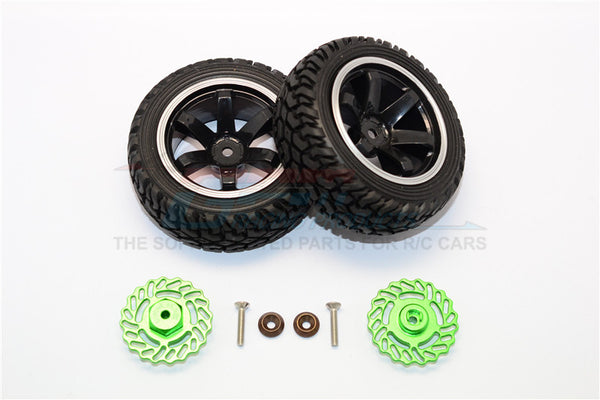 Traxxas LaTrax Teton & LaTrax SST Aluminum Brake Disk +5.5mm Thick With Tires And Wheels - 4Pcs Set Green+Black