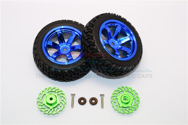 Traxxas LaTrax Teton & LaTrax SST Aluminum Brake Disk +5.5mm Thick With Tires And Wheels - 4Pcs Set Green+Blue