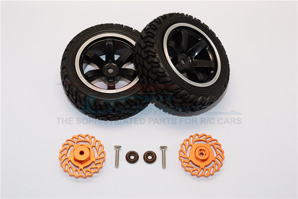 Traxxas LaTrax Teton & LaTrax SST Aluminum Brake Disk +5.5mm Thick With Tires And Wheels - 4Pcs Set Orange+Black