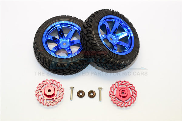 Traxxas LaTrax Teton & LaTrax SST Aluminum Brake Disk +5.5mm Thick With Tires And Wheels - 4Pcs Set Red+Blue