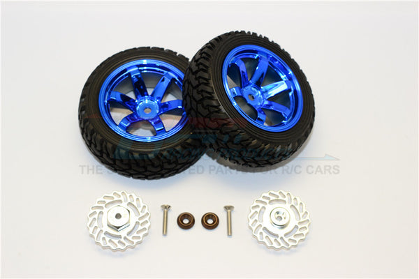 Traxxas LaTrax Teton & LaTrax SST Aluminum Brake Disk +5.5mm Thick With Tires And Wheels - 4Pcs Set Silver+Blue