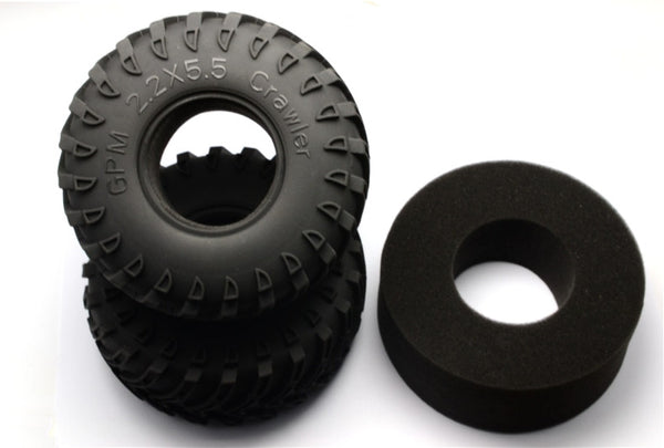 "2.2'' Rubber Radial Tire With Foam Insert 45 Deg (2.2""X5.5""X2.3'') - 1Pr - JTeamhobbies"