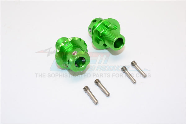 Aluminum Hex Adapters For 1:8 Arrma Nero 6S / Arrma Fazon 6S / Thunder Tiger K-Rock / Team Magic E6 III HX - 2Pcs Set Green