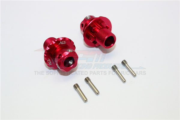 Aluminum Hex Adapters For 1:8 Arrma Nero 6S / Arrma Fazon 6S / Thunder Tiger K-Rock / Team Magic E6 III HX - 2Pcs Set Red