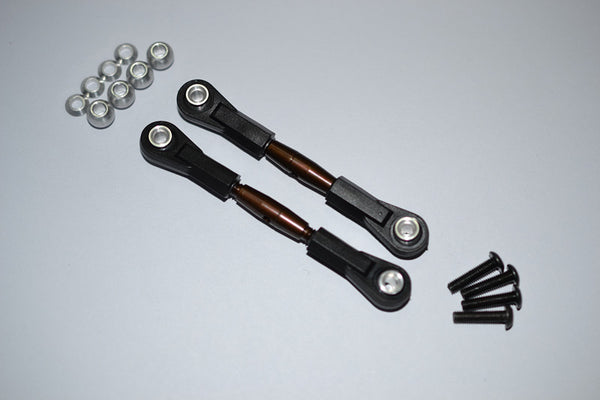 Spring Steel 4mm Thread Tie Rod With 6.8mm Ball Plastic Ends (To Extend 60mm-65mm) - 1Pr Set