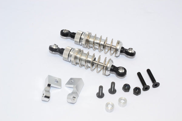 Tamiya Truck Scania R620 Highline Aluminum Front Adjustable Spring Damper With Lock Nuts & Collars & Mounts & Screws - 1Pr Set Silver