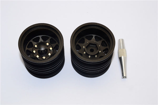 Tamiya 1/14 Truck Aluminum Rear Wheel With Hex Driver - 1Pr Set Black