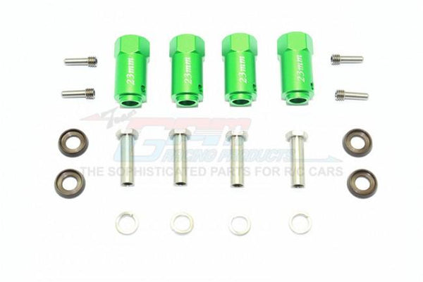 Traxxas TRX-4 Trail Defender Crawler Aluminum Wheel Hex Adapters 23mm Thick - 4Pc Set Green