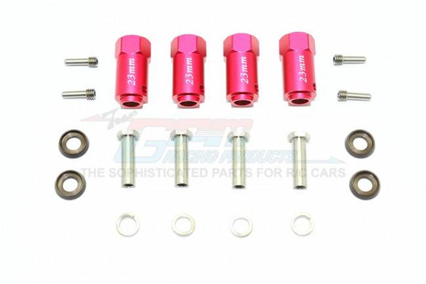 Traxxas TRX-4 Trail Defender Crawler Aluminum Wheel Hex Adapters 23mm Thick - 4Pc Set Red