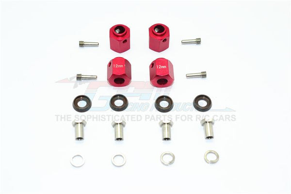 Traxxas TRX-4 Trail Defender Crawler Aluminum Wheel Hex Adapters 12mm - 4Pcs Set Red