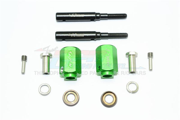 Traxxas TRX-4 Trail Defender Crawler Harden Steel Extended Length Front / Rear Stub Axle +17mm Hex - 1Pr Set Green