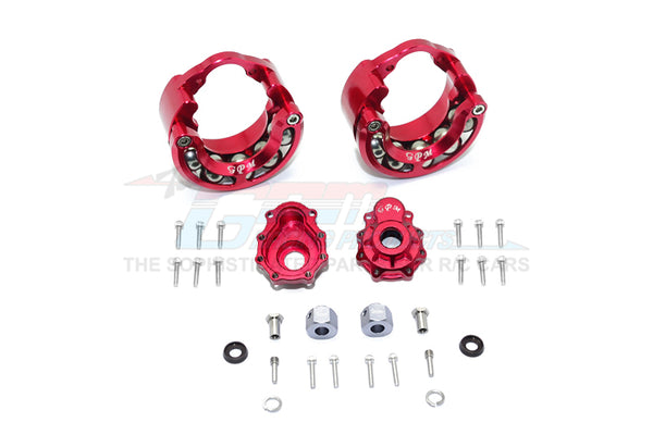 Traxxas TRX-4 Trail Defender Crawler / TRX-6 Mercedes-Benz G63 Aluminum Pendulum Wheel Knuckle Axle Weight + 9mm Hex Adapter With Outer Portal Case - 1Pr Set Red