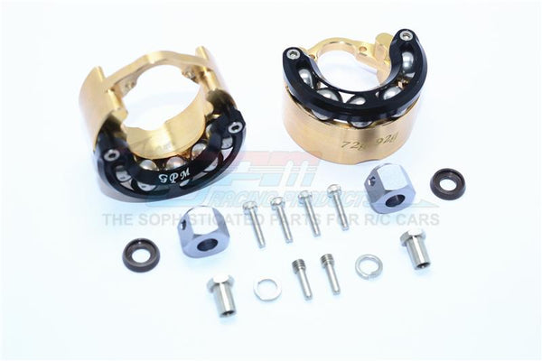 Traxxas TRX-4 Trail Defender Crawler Brass Pendulum Wheel Knuckle Axle Weight With Alloy Lid + 9mm Hex Adapter - 1Pr Set Black