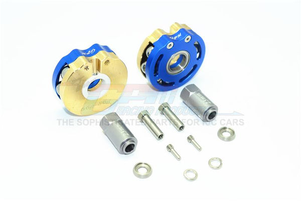 Traxxas TRX-4 Trail Defender Crawler Brass Pendulum Wheel Knuckle Axle Weight With Alloy Lid + 23mm Hex Adapter - 1Pr Set Blue