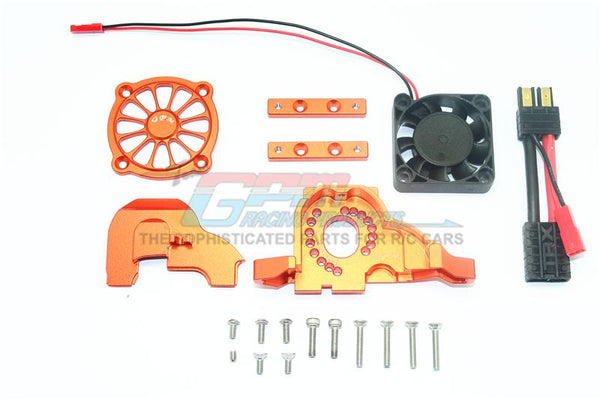 Traxxas TRX-4 Aluminum Motor Mount + Upper Spur Gear Case Cover With Cooling Fan - 19Pc Set Orange