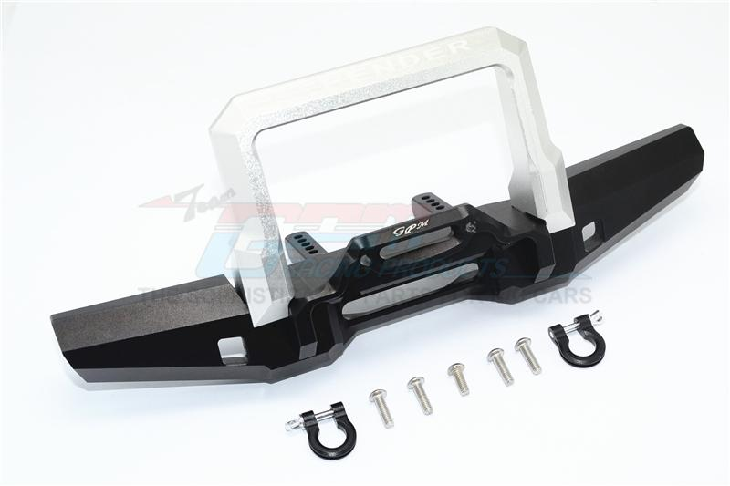 Traxxas TRX-4 Trail Defender Crawler Aluminum Front Bumper With D-Rings - 1 Set Black+Silver