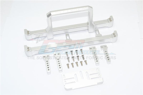 Traxxas TRX-4 Trail Defender Crawler Aluminum Front & Rear Bumper With Winch Plate (On-Road Street Fighter) - 1 Set Silver