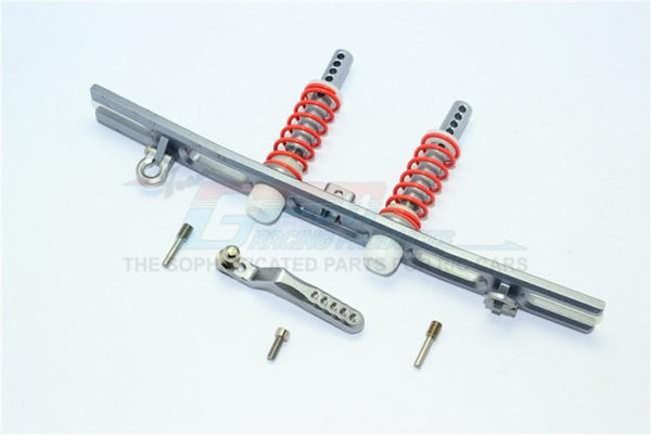 Traxxas TRX-4 Trail Defender Crawler Aluminum Rear Bumper Absorber + D-Rings + Tow Hook - 1 Set Gray Silver