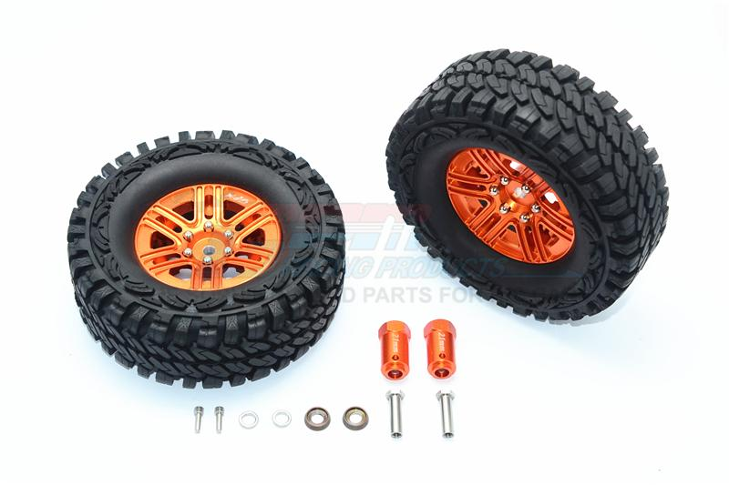Traxxas TRX-4 Trail Defender Crawler Aluminum 6 Poles Wheels & Crawler Tires + 21mm Hex Adapter - 1Pr Set Orange