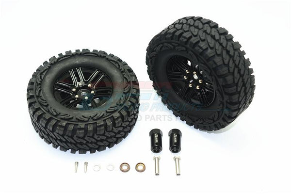 Traxxas TRX-4 Trail Defender Crawler Aluminum 6 Poles Wheels & Crawler Tires + 23mm Hex Adapter - 1Pr Set Black