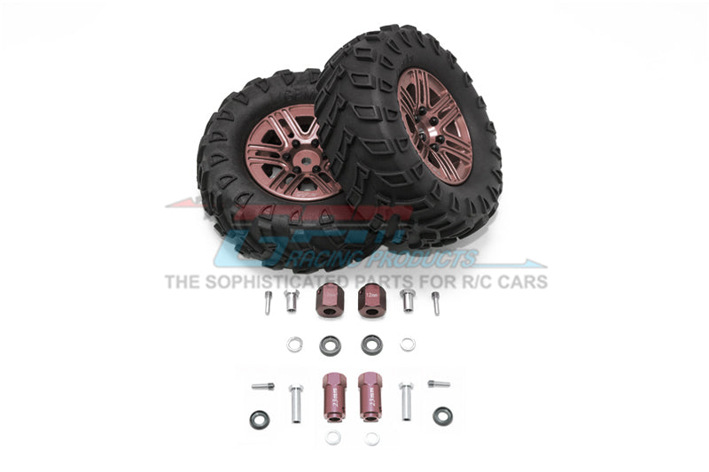 "Traxxas TRX-4 Trail Defender Crawler 1.9"" Aluminum 6 Spokes Bbs Rims With Onroad Tires And 12mm Thick Alloy Hex - 1Pr Set Brown"