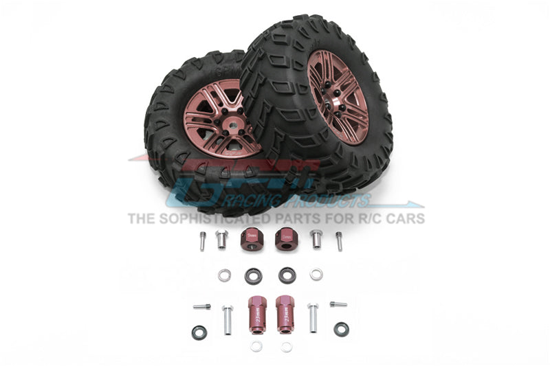 "Traxxas TRX-4 Trail Defender Crawler 1.9"" Aluminum 6 Spokes Bbs Rims With Onroad Tires And 9mm Thick Alloy Hex - 1Pr Set Brown"