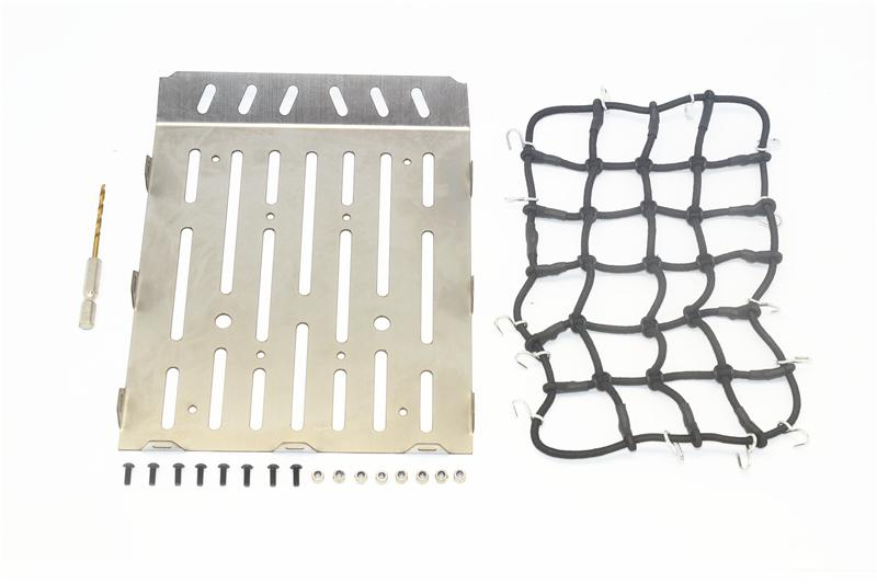 R/C Scale Accessories : Stainless Steel Truck Trunk Lid (Style A) + Cargo Net For Traxxas TRX-6 Mercedes-Benz G63 (88096-4) - 20Pc Set