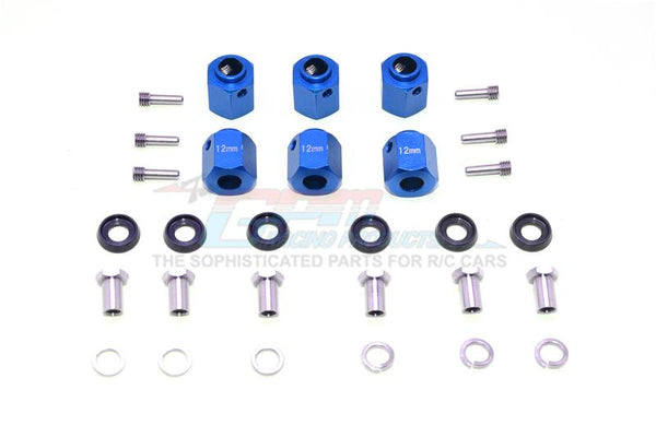 Traxxas TRX-6 Mercedes-Benz G63 (88096-4) Aluminum Hex Adapters 12mm Thick - 30Pc Set Blue