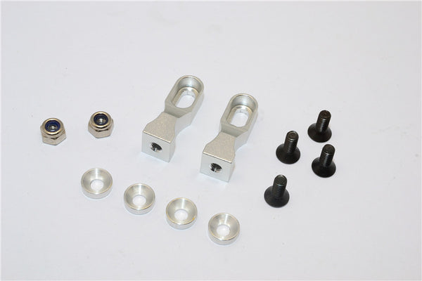 Tamiya TT-01 & TT-01D Aluminum Servo Mount With Collars & Lock Nuts & Screws - 1Pr Set Silver