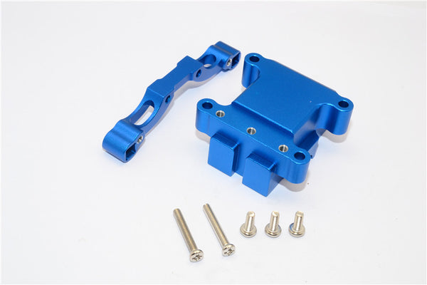 Tamiya TT-01 & TT-01D Aluminum Front Damper Plate With Gear Box & Screws - 2Pcs Set Blue
