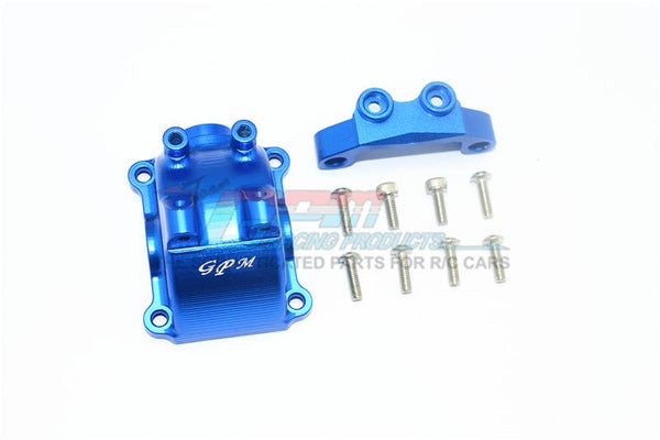 Tamiya TT-02 / TT-02T Aluminum Front Or Rear Gearbox Cover + Upper Arm Stabilizer - 1 Set Blue