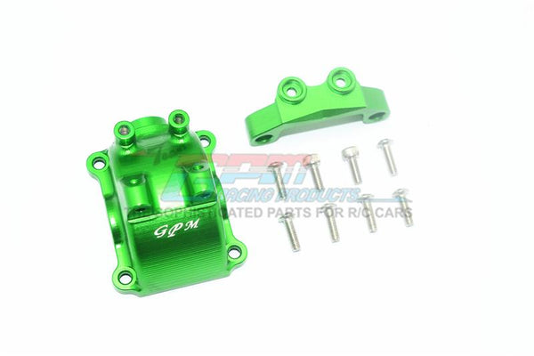 Tamiya TT-02 / TT-02T Aluminum Front Or Rear Gearbox Cover + Upper Arm Stabilizer - 1 Set Green