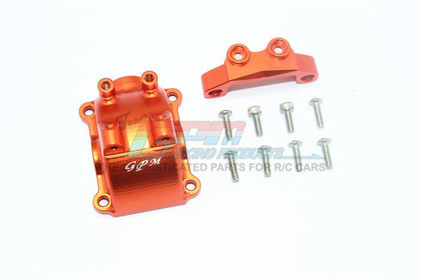 Tamiya TT-02 / TT-02T Aluminum Front Or Rear Gearbox Cover + Upper Arm Stabilizer - 1 Set Orange