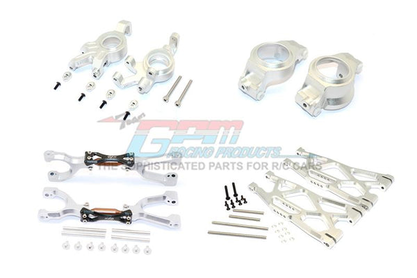 Traxxas X-Maxx 4X4 Aluminum Front Upper + Lower Arms + C Hubs + Kncukle Arms Set - 52Pc Set Silver