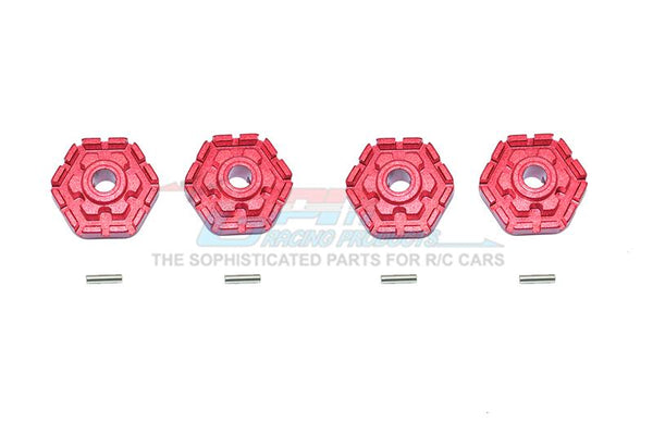 Traxxas 1/10 Maxx 4WD Monster Truck Aluminum Wheel Hub Hex (+2mm) - 4Pc Set Red