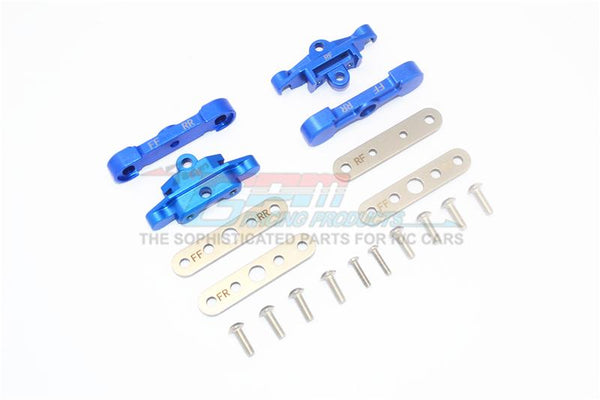 Traxxas 1/10 Maxx 4WD Monster Truck Aluminum Front + Rear Lower Arm Tie Bar Mount - 18Pc Set Blue