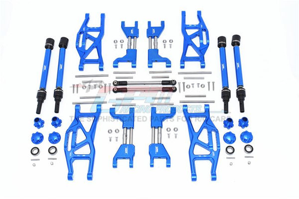 Traxxas 1/10 Maxx 4WD Monster Truck Aluminum F&R Upper+Lower Arms + F&R Adjustable CVD Drive Shaft + Hex Adapter + Wheel Lock + Stainless Steel Adjustable Front Steering Tie Rod - 84Pc Set Blue
