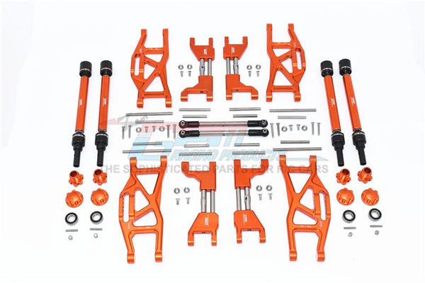 Traxxas 1/10 Maxx 4WD Monster Truck Aluminum F&R Upper+Lower Arms + F&R Adjustable CVD Drive Shaft + Hex Adapter + Wheel Lock + Stainless Steel Adjustable Front Steering Tie Rod - 84Pc Set Orange