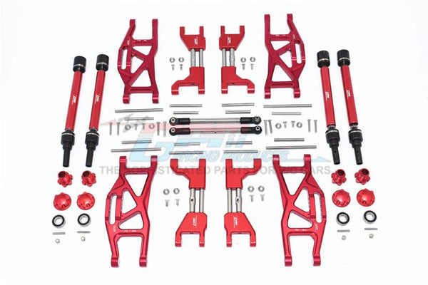 Traxxas 1/10 Maxx 4WD Monster Truck Aluminum F&R Upper+Lower Arms + F&R Adjustable CVD Drive Shaft + Hex Adapter + Wheel Lock + Stainless Steel Adjustable Front Steering Tie Rod - 84Pc Set Red