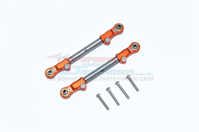 Traxxas 1/10 Maxx 4WD Monster Truck Aluminum+Stainless Steel Adjustable Front Steering Tie Rod - 2Pc Set Orange