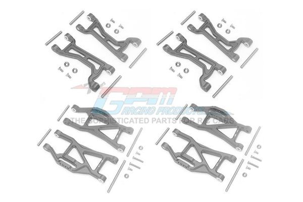 Traxxas 1/10 Maxx 4WD Monster Truck Aluminium Full Suspension Arm Set (Front + Rear & Upper + Lower Arms) - 56Pc Set Gray Silver
