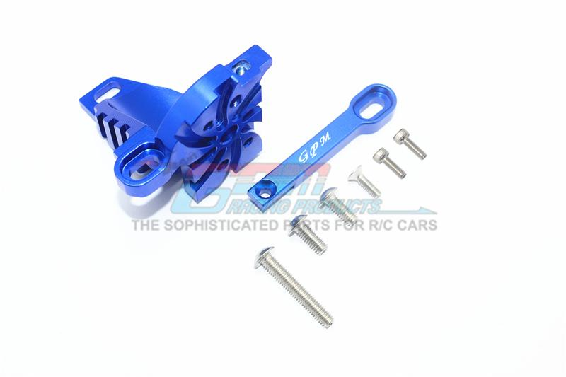 Traxxas Unlimited Desert Racer 4X4 (#85076-4) Aluminum Motor Mount With Heat Sink Fins - 1 Set Blue