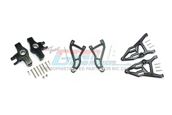 Traxxas Unlimited Desert Racer 4X4 (#85076-4) Aluminum Front Upper & Lower Arms + Knuckle Arms Set - 28Pc Set Black