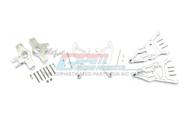 Traxxas Unlimited Desert Racer 4X4 (#85076-4) Aluminum Front Upper & Lower Arms + Knuckle Arms Set - 28Pc Set Silver